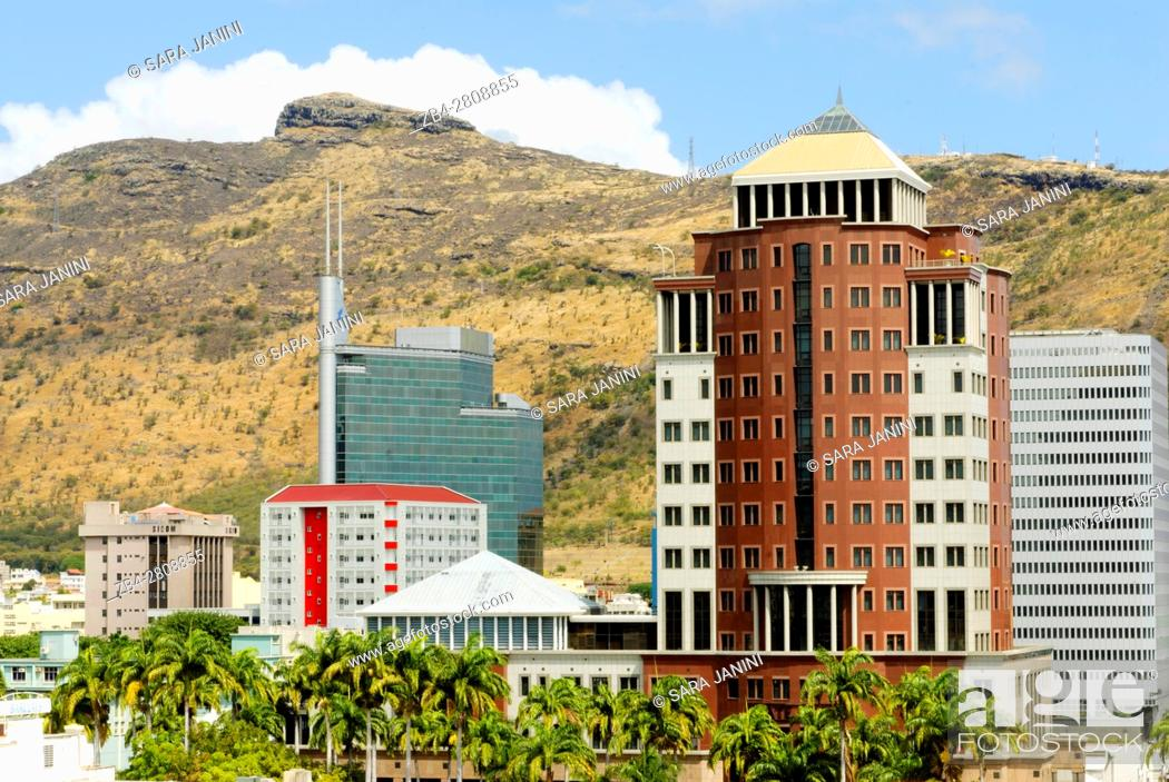 Stock Photo: View of the City and Place d'Armes, Port Louis, Mauritius, Indian Ocean, Africa.