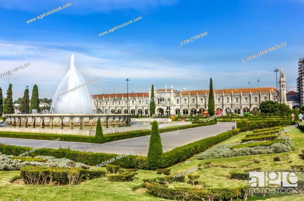 Stock Photo: Garden Praca do Imperio and Jeronimos Monastery in Lisbon, Portugal, Belem District.