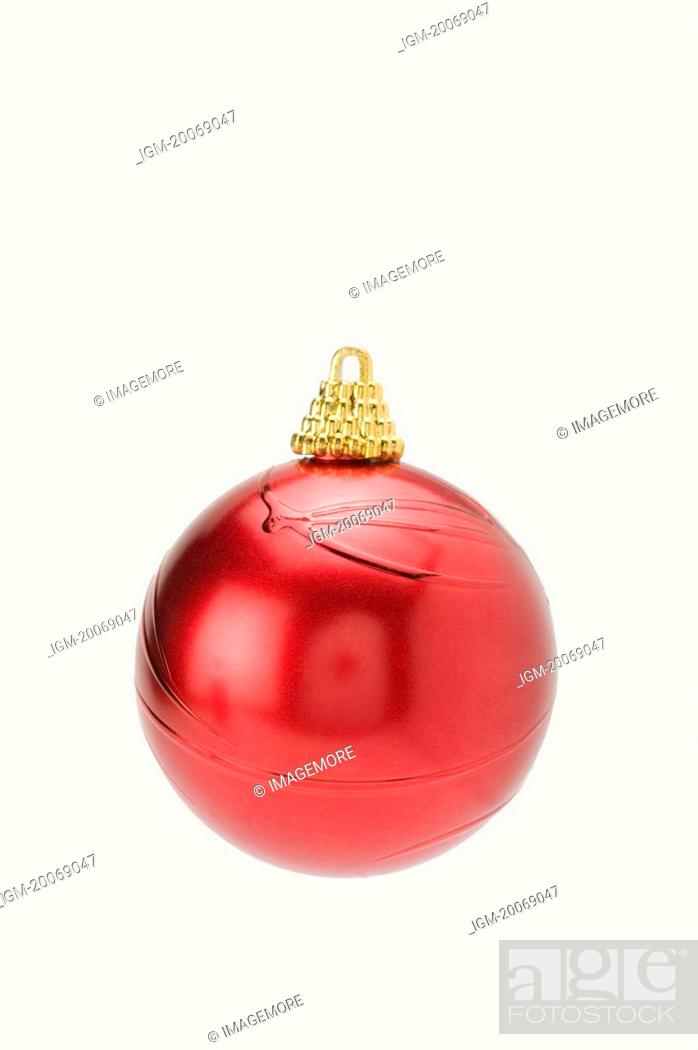 Stock Photo: A red Christmas Bauble.