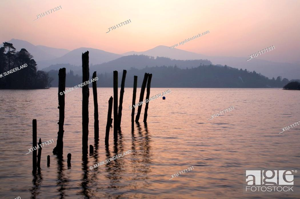 Stock Photo: Derwent Water in Twilight Keswick Cumbria England.