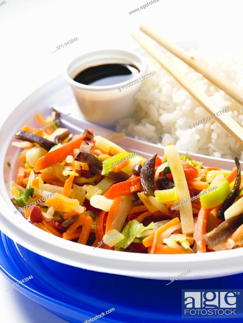 Stock Photo: Asian vegetable stir-fry with rice.