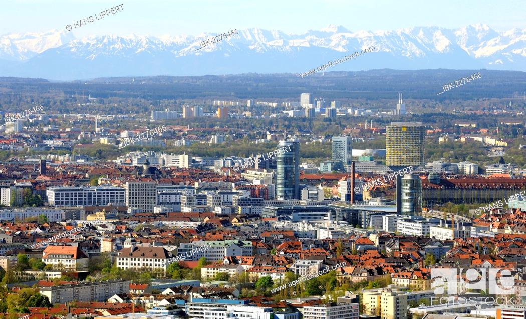 Stock Photo: View from the Olympiaturm Tower, TV Tower, over Neuhausen quarter and the Alps, during foehn weather, Munich, Upper Bavaria, Bavaria, Germany, Europe.