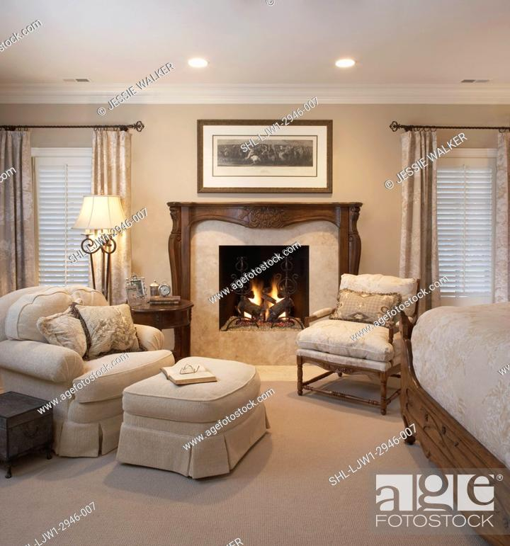 Master Bedroom Sitting Area Monochromatic White And Cream Color Theme Stock Photo Picture And Rights Managed Image Pic Shl Ljw1 2946 007 Agefotostock