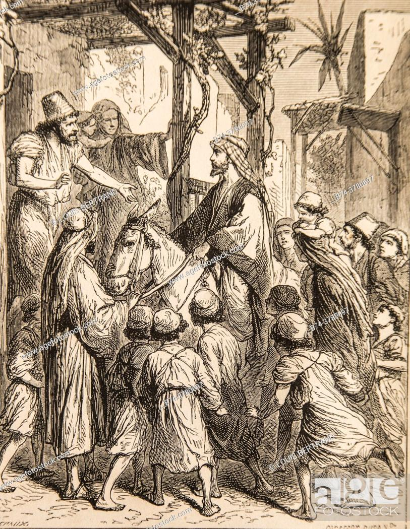 Photo de stock: when he went down to a house, it was a joy and a blessing, life of jesus by ernest renan, drawings by godefroy durand, editor michel levy 1870.