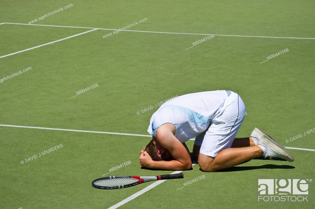 Stock Photo: This tennis player should have trained harder before losing game, set and match.