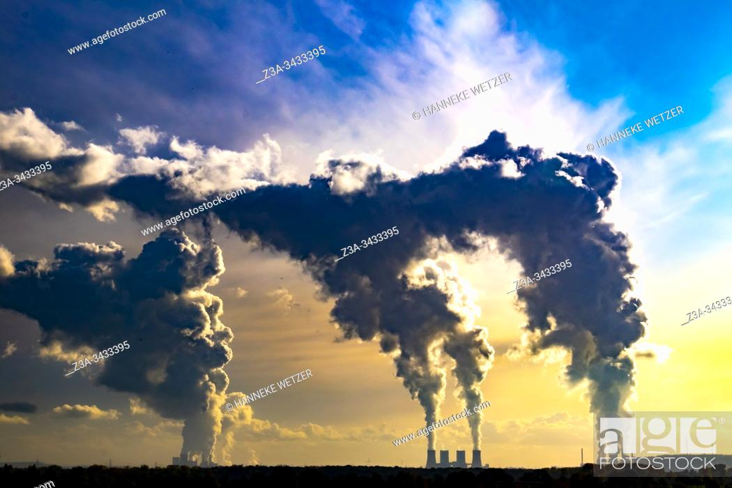 Stock Photo: Colorful horizon with smoke of the Kraftwerk power plants of RWE Power, Ruhr area, North Rhine-Westphalia, Germany, Europe.