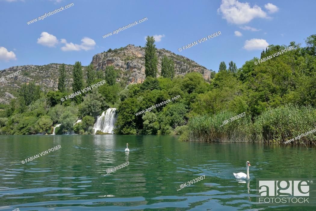 Stock Photo: Roški slap waterfall, Krka National Park, Šibenik-Knin County, Dalmatia, Croatia.