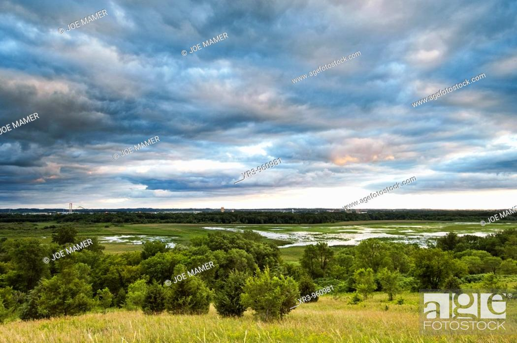 Stock Photo: Storm clouds over the Minnesota River  The Minnesota Valley National Wildlife Refuge is located within the urban and suburban areas of Minneapolis and St  Paul.
