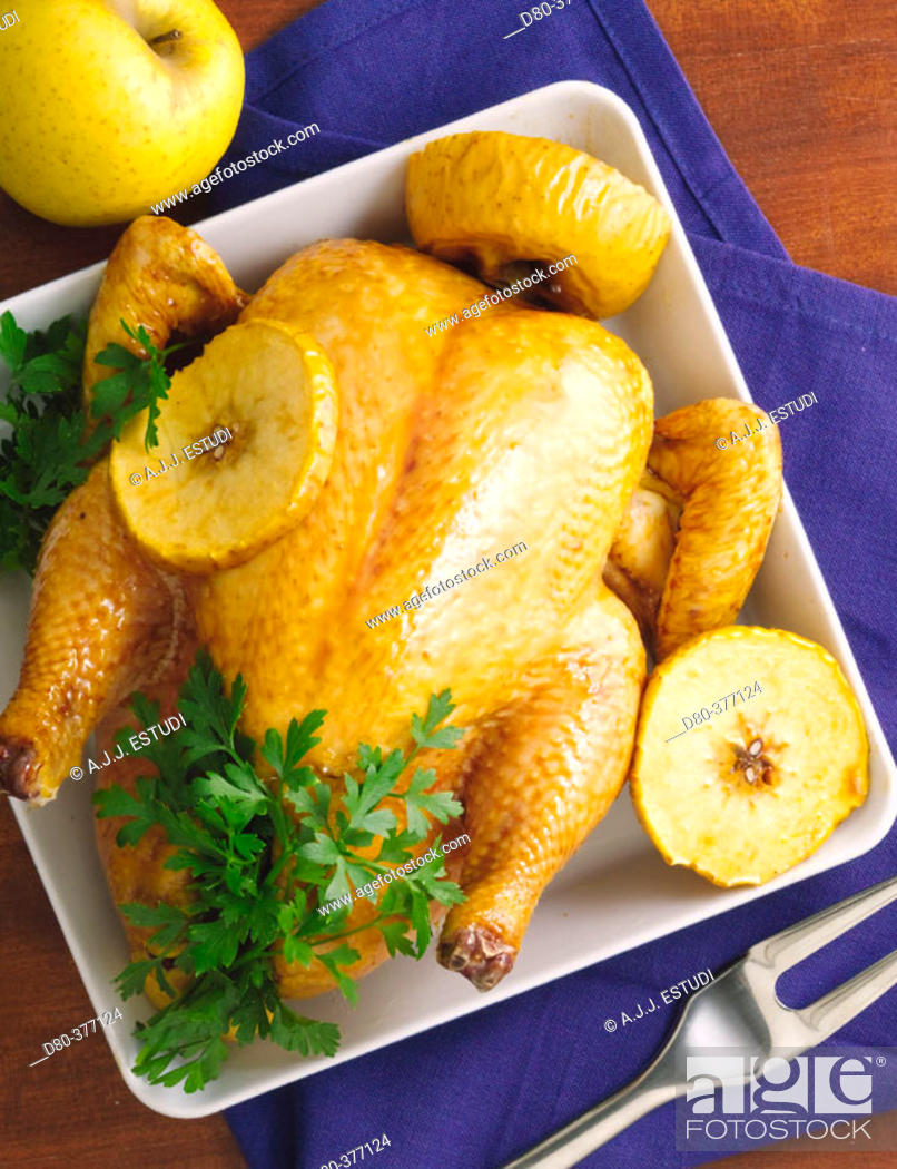 Stock Photo: Roasted chicken with apples.