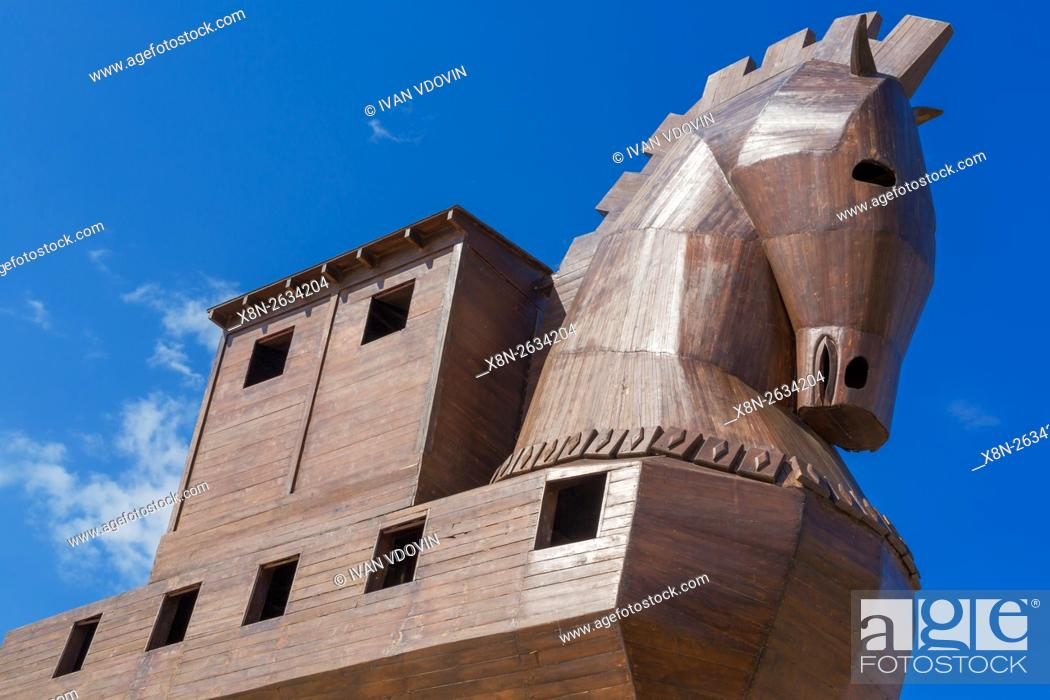 Modern Wooden Sculpture Of Trojan Horse Troy Canakkale Province Turkey Stock Photo Picture And Rights Managed Image Pic X8n 2634204 Agefotostock