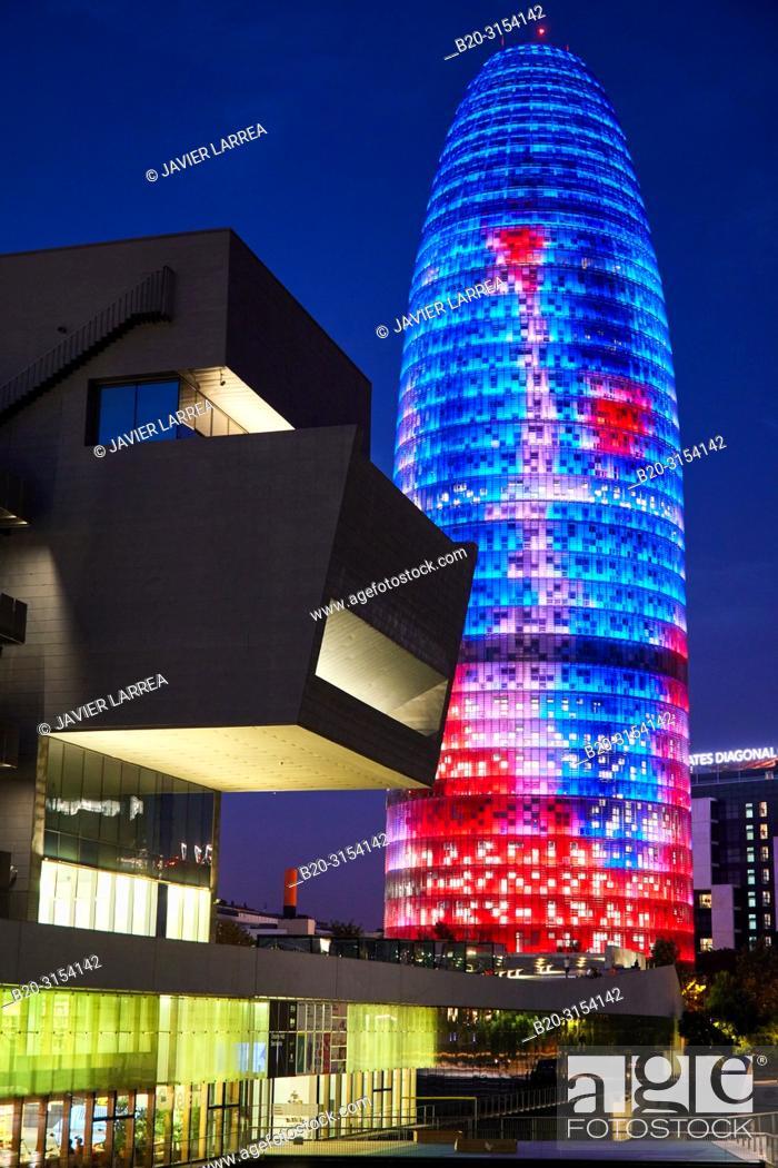 Stock Photo: Design Museum of Barcelona, Agbar Tower, Plaça de les Glòries, Barcelona, Catalunya, Spain, Europe.