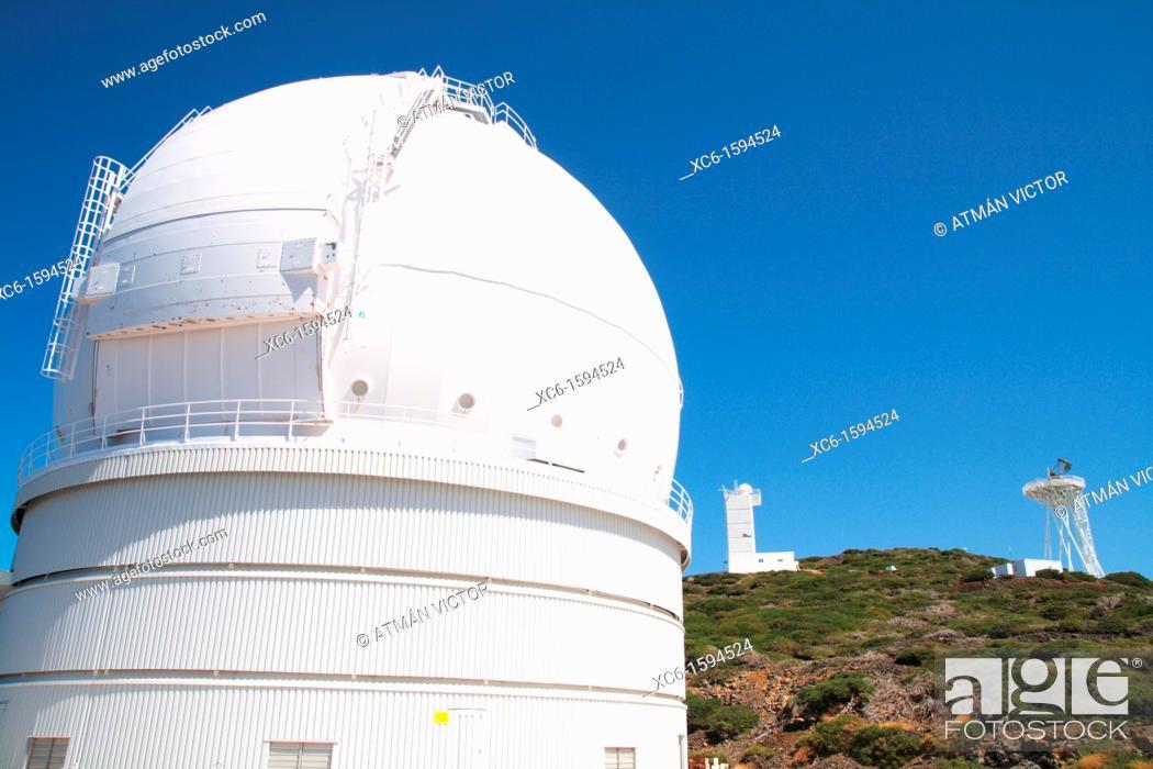 Stock Photo: Telescope in Roque de Los Muchachos, La Palma, Canary Islands, Spain.