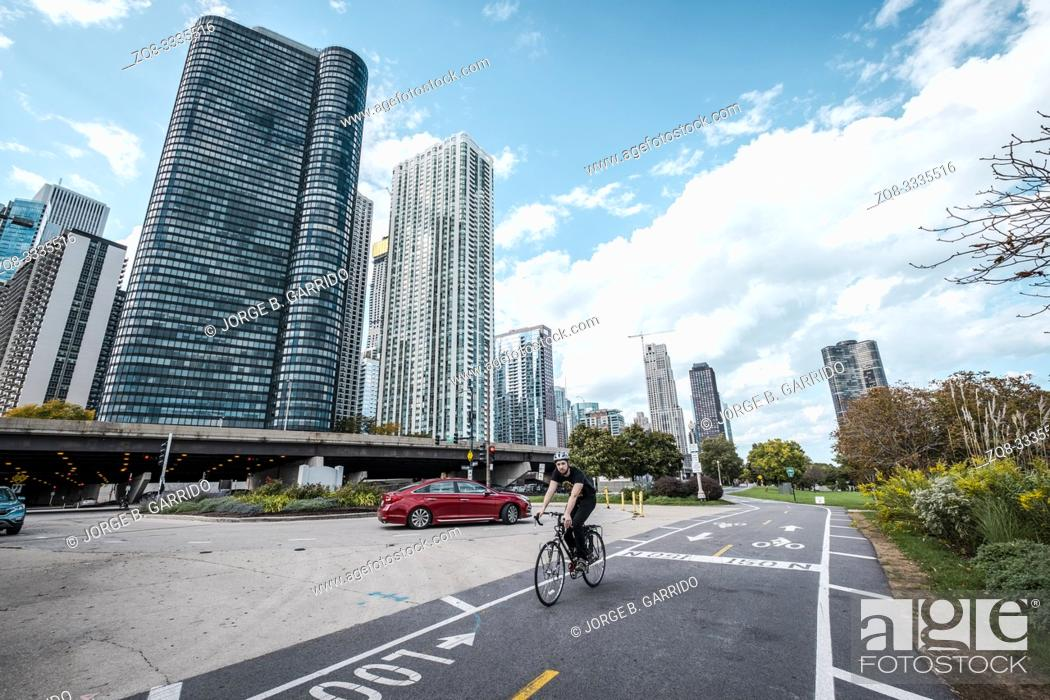 Stock Photo: bicycle road at Chicago.