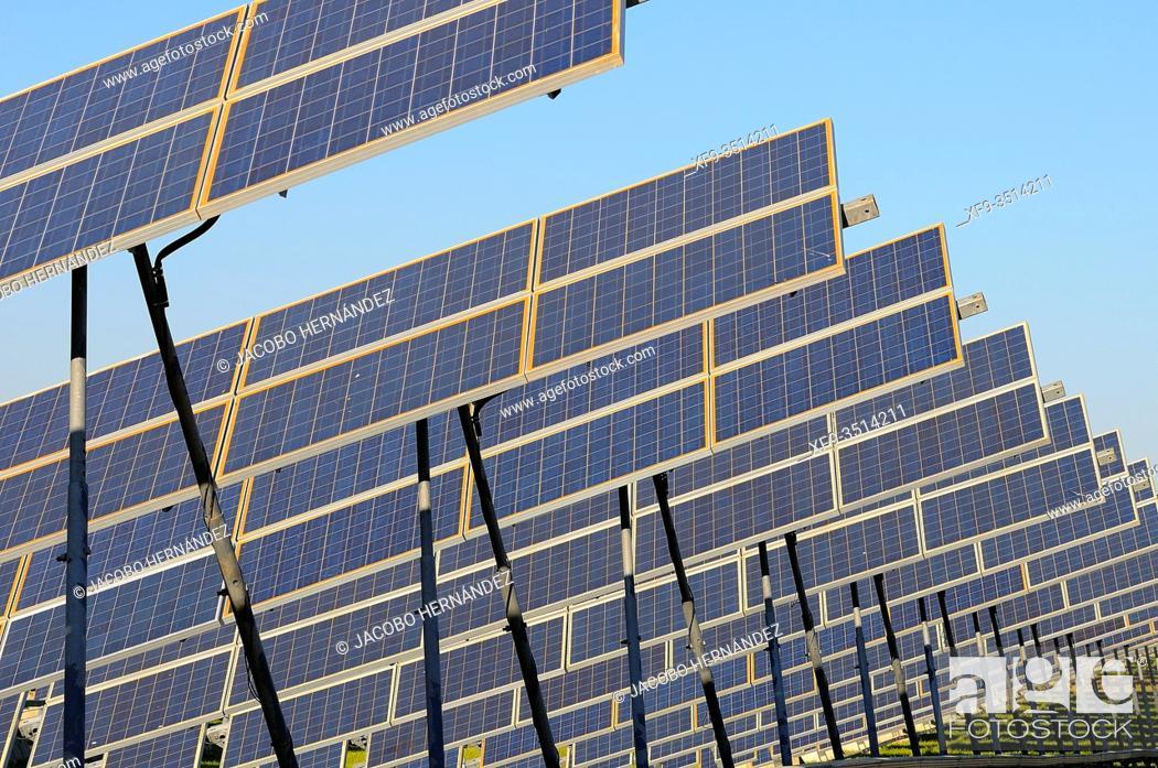 Stock Photo: Phtovoltaic solar power plant. Olivenza. Badajoz province. Extremadura. Spain.