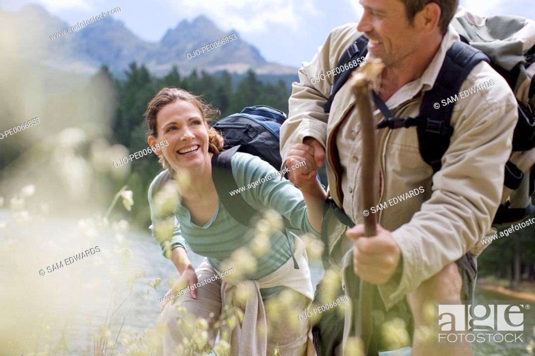 Stock Photo: Couple hiking in remote area.