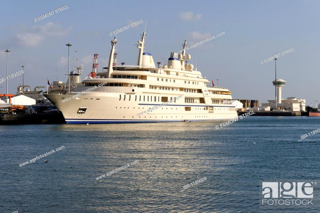 Stock Photo: Sultan Qaboos royal yacht, Mutrah harbour, Muscat, Sultanate of Oman, Arabia, Middle East.