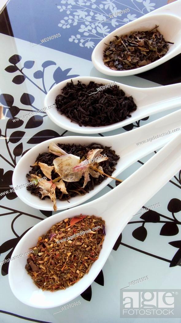 Stock Photo: Green tea, black tea, jasmine tea, rooibos with flowers and fruit.