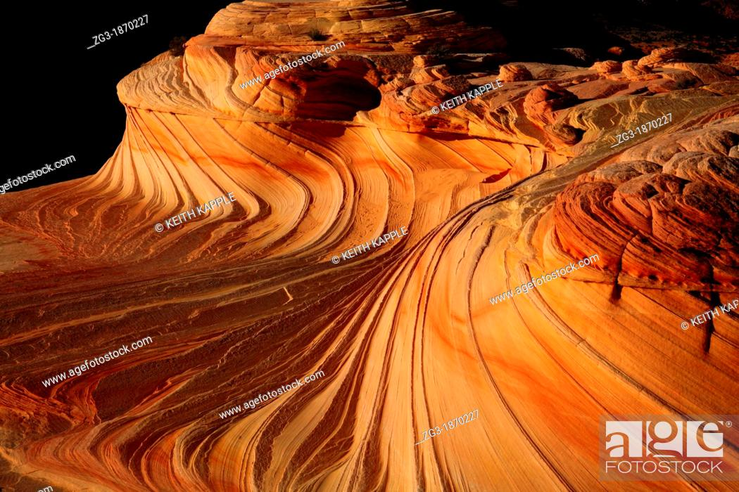 Stock Photo: The Wave, Coyote Buttes North, Vermilion Cliffs, Colorado Plateau, Arizona.