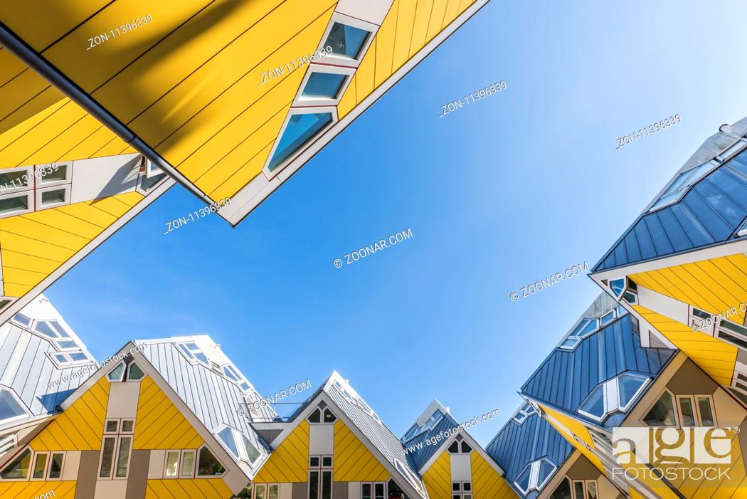 Stock Photo: Rotterdam, The Netherlands - March 24, 2017: Yellow cube houses Rotterdam by architect Piet Blom, 1984.