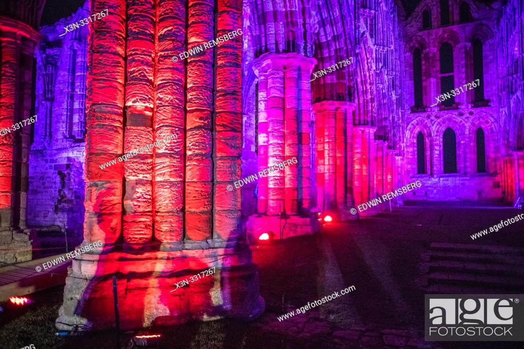 Stock Photo: Lights from the Whitby Abbey during the Dracula festival on Halloween Yorkshire, UK.