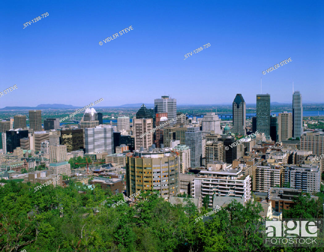 Stock Photo: Buildings, Canada, North America, City, Crowded, Downtown, Holiday, Horizon, Landmark, Montreal, Quebec, Skyline, Skyscrapers, T.