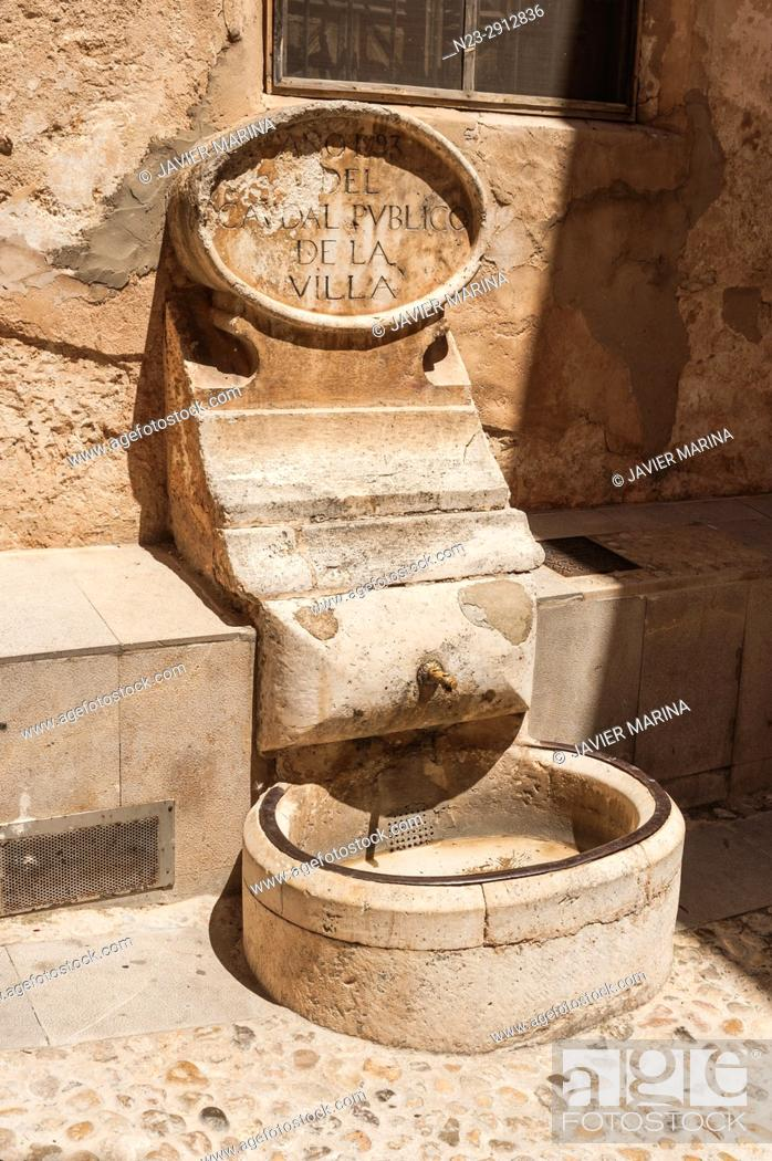 Stock Photo: Old water fountain, Bocairent, Valencia, Spain.