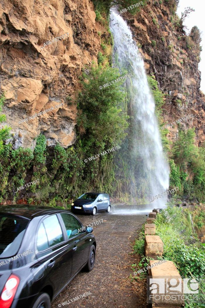 Stock Photo: waterfall at the old coastal road, also called the car washing street, Madeira, Portugal, Europe.