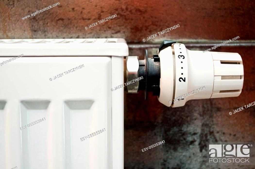 Stock Photo: white radiator with thermal control.
