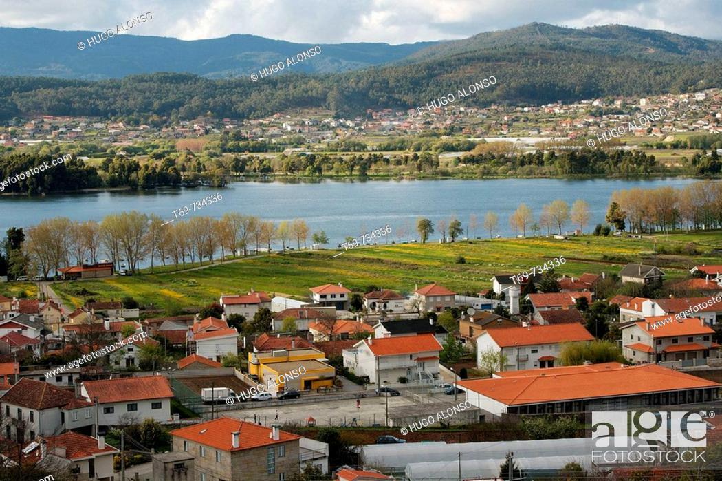 Stock Photo: Estuary of Minho River, Portugal.