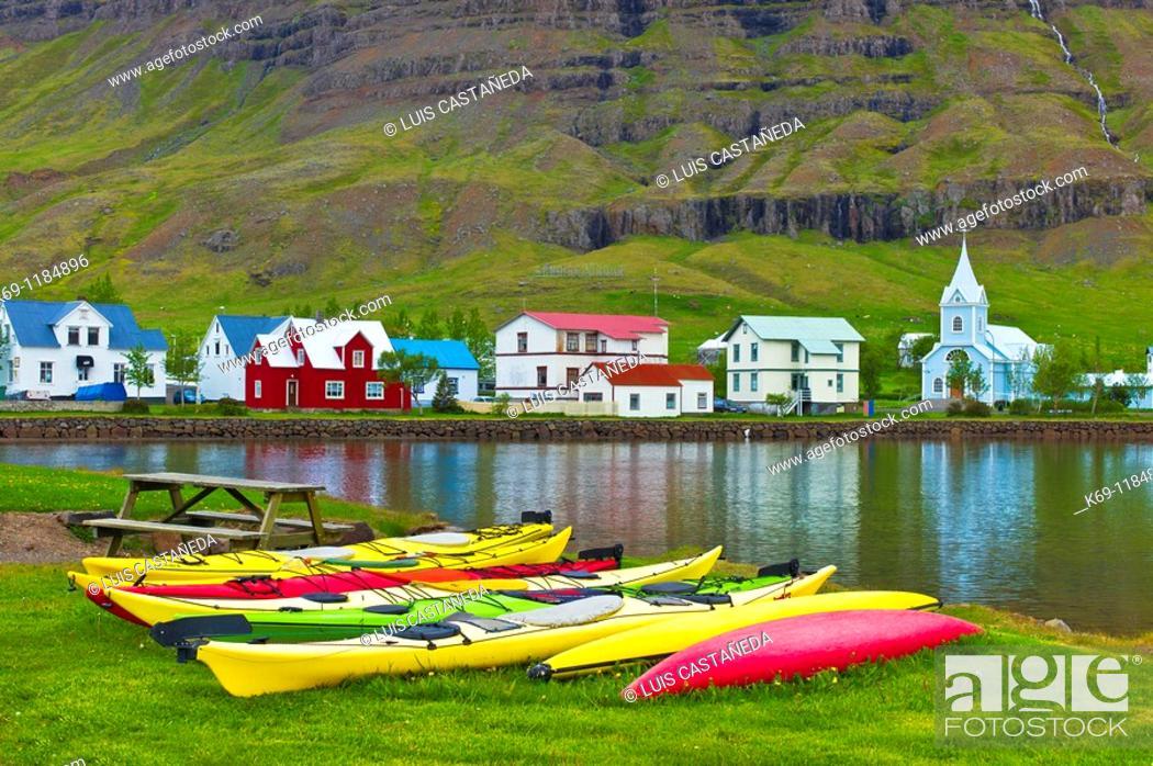 Stock Photo: Kayaks, Seydisfjördur, Iceland.