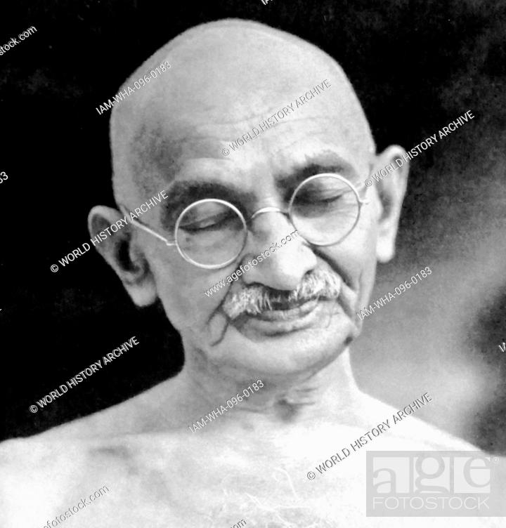 Stock Photo: Mohandas Karamchand Gandhi (2 October 1869 – 30 January 1948). Preeminent leader of the Indian independence movement in British-ruled India.