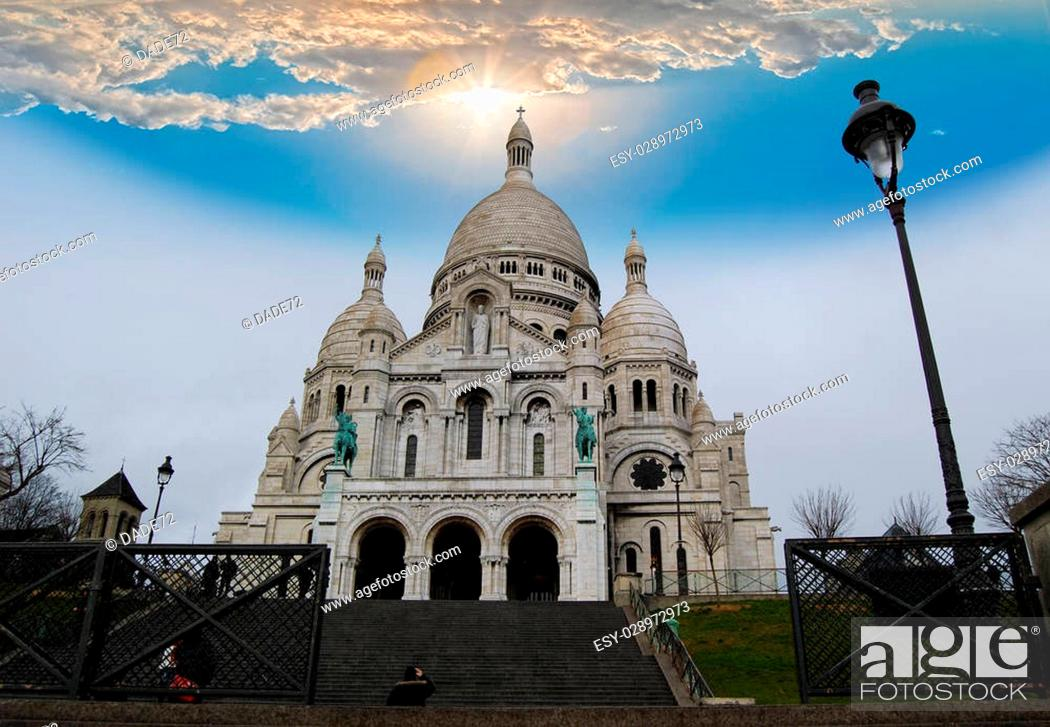 Stock Photo: The Basilica of the Sacred Heart on Montmartre hill.