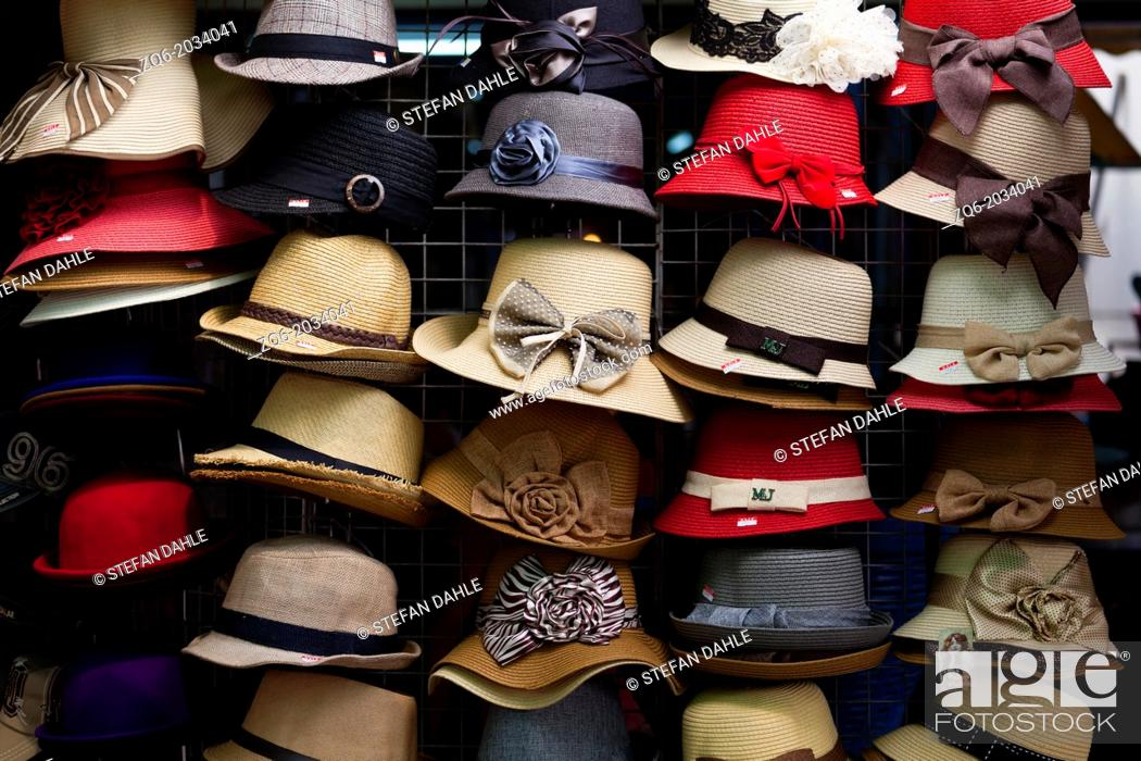 Stock Photo: Colourful Hats on the Chatuchak Market in Bangkok.