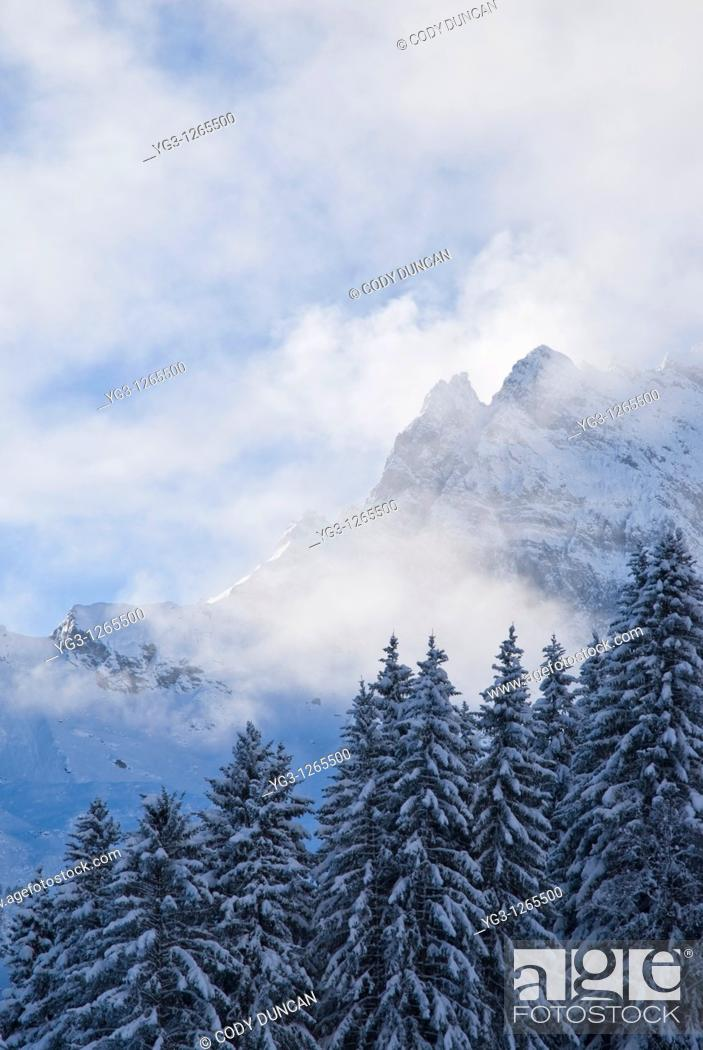 Stock Photo: Clearing storm over mountains in Swiss Alps, Gimmelwald.