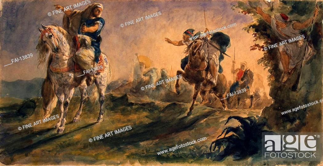 Stock Photo: Arab Riders on Scouting Mission. Delacroix, Eugène (1798-1863). Watercolour, Gouache on Paper. Romanticism. 1862. State Hermitage, St. Petersburg.