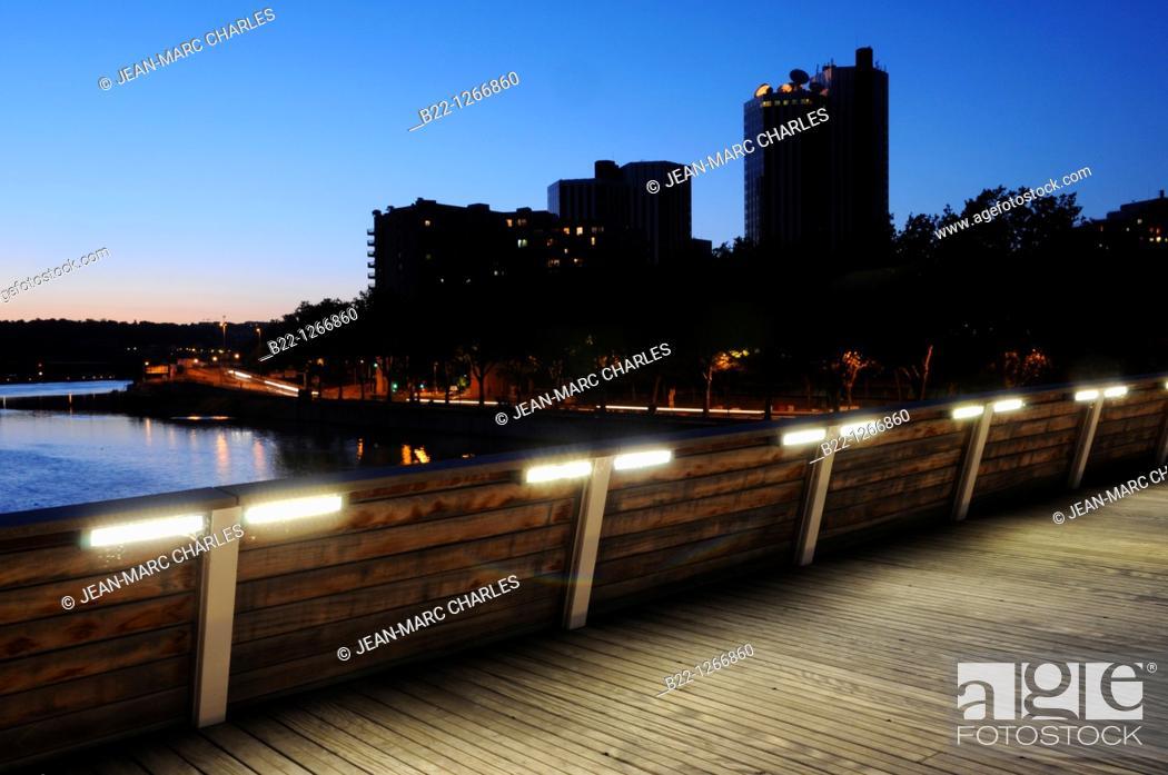 Stock Photo: Public lighting, Île Seguin, Seguin Island, on the Seine river between Boulogne-Billancourt and Sèvres, in the west suburbs of Paris, Hauts-de-Seine.
