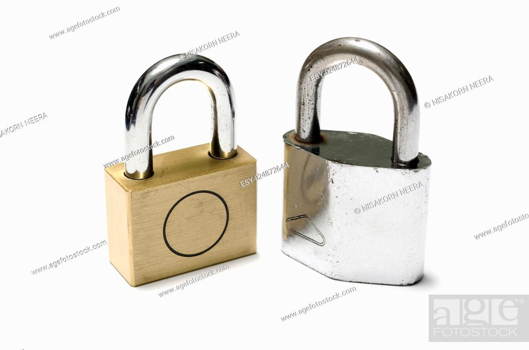 Stock Photo: padlock on a white background.