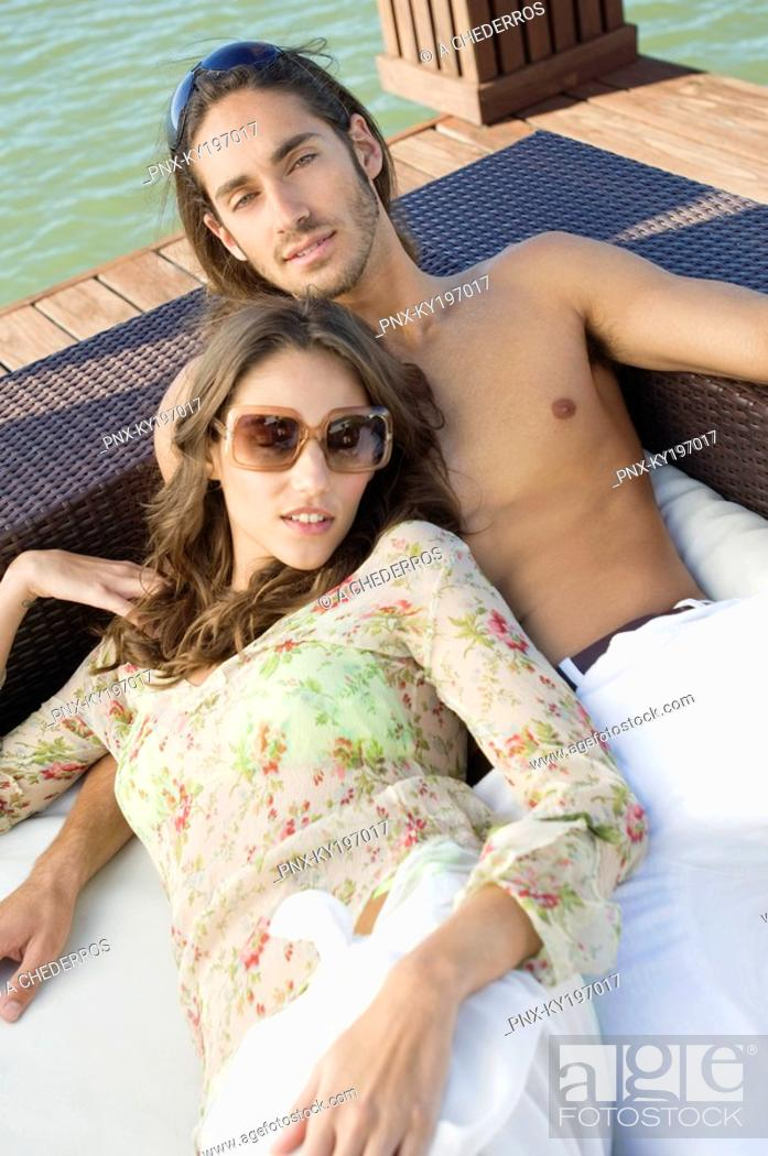 Stock Photo: Couple resting at a tourist resort.