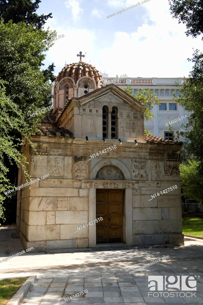 Stock Photo: Agios Eleftherios Church, the smallest church in the world, Athens, Greece.