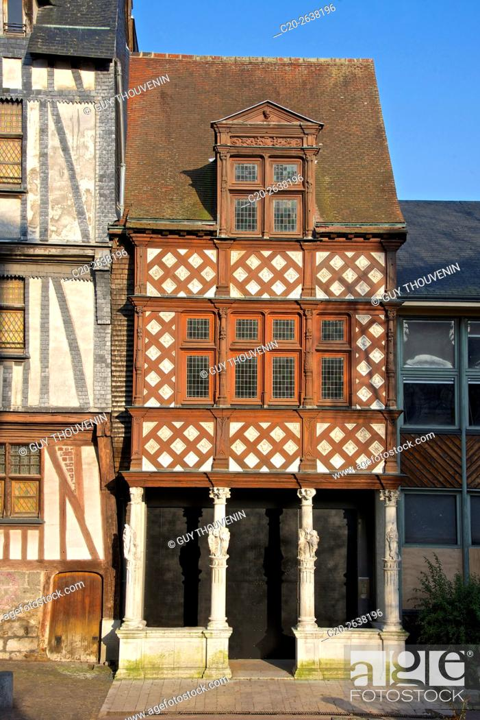 Stock Photo: Half timbered colored Pavillon des Vertus, Virtues Pavilion, 16th c., Stone columns with women statues, old town, Rouen, 76, Normandy, France old town, Rouen.