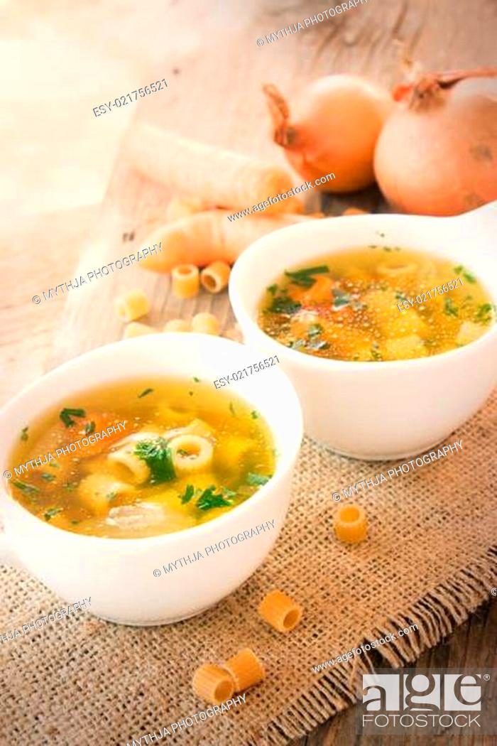 Stock Photo: Vegetable soup with pasta.