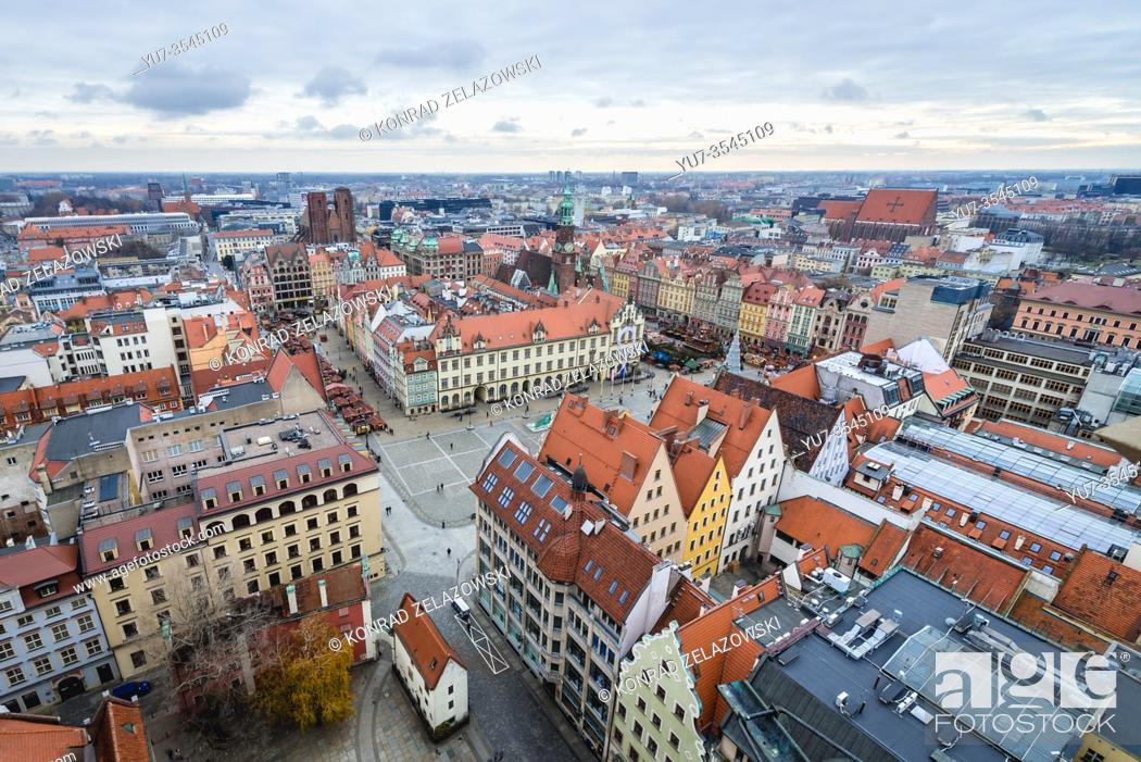Stock Photo: Aerial view from Garrison Church in Old Town of Wroclaw, Poland - view with Market Square.