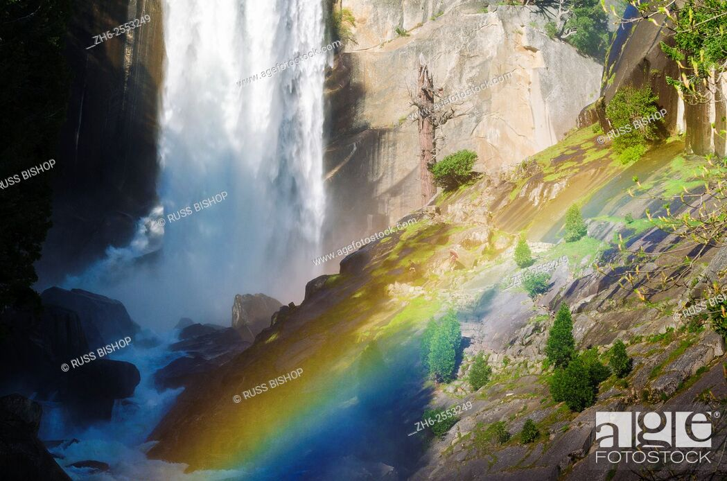 Stock Photo: Vernal Falls and hikers on the Mist Trail, Yosemite National Park, California USA.