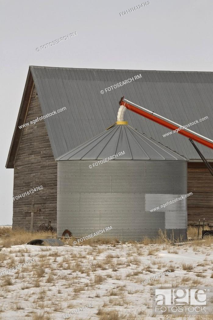 barn, scenic, grain, auger, old, Stock Photo, Picture And