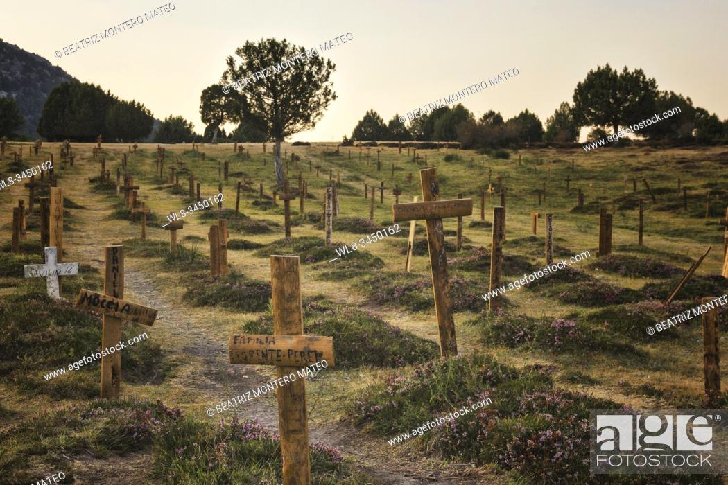 Stock Photo: Sad Hill Cemetery in memory of the film The Good, the Bad and the Ugly by Sergio Leone in Contreras and Santo Domingo de Silos, Burgos (Spain).