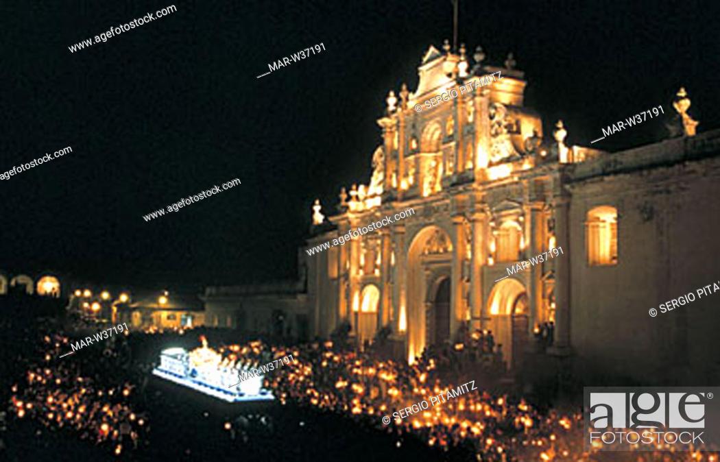 Stock Photo: america, guatemala, antigua, semana santa, cathedral.