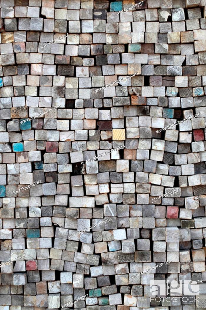 Stock Photo: Stack of wood planks on lumber yard.