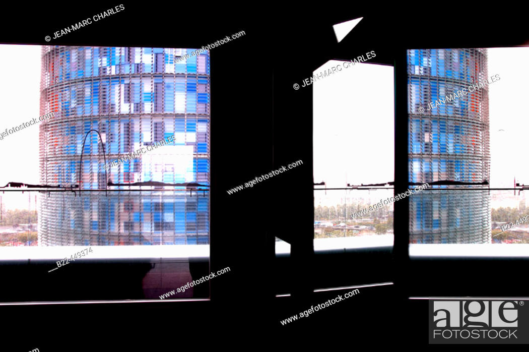 Stock Photo: Agbar Tower by architect Jean Nouvel seen from Hotel Diagonal by architect Juli Capella, Barcelona. Catalonia, Spain.