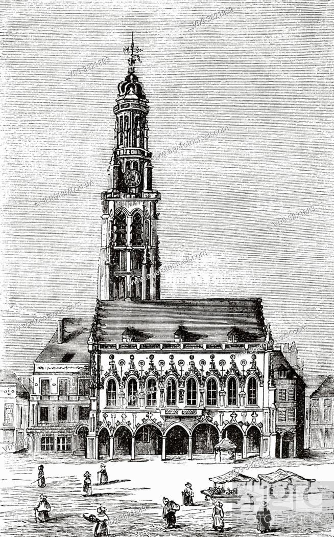 Stock Photo: Town hall and Belfried Tower, Place des Héros, Arras. Pas de Calais Department, Nord-Pas de Calais Picardie region. France.