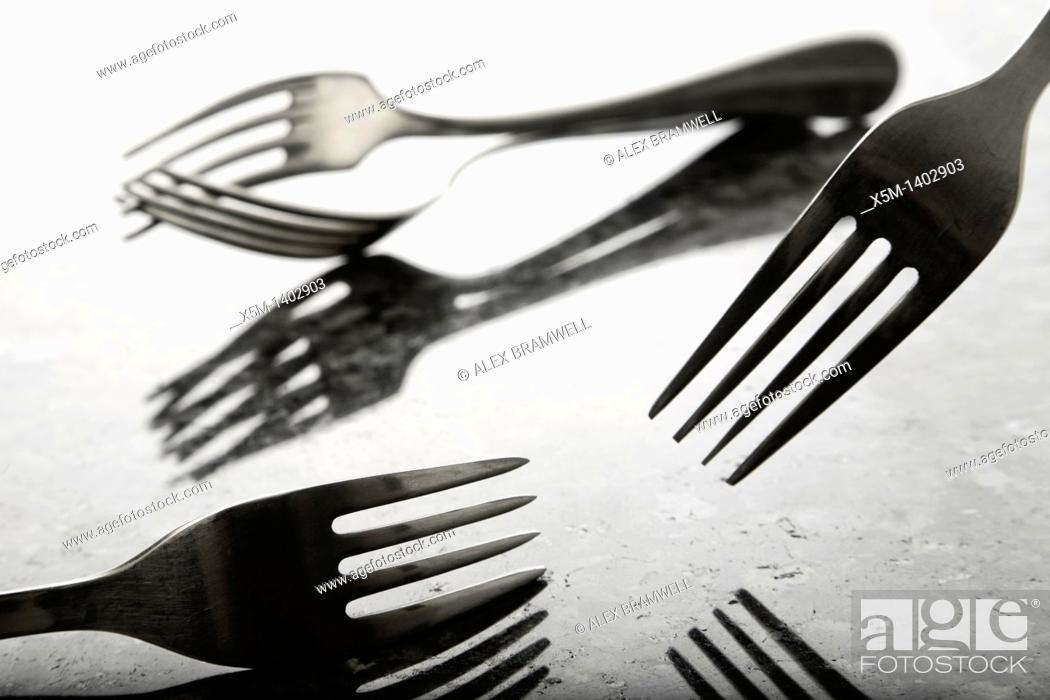 Stock Photo: Forks in a film noir style.